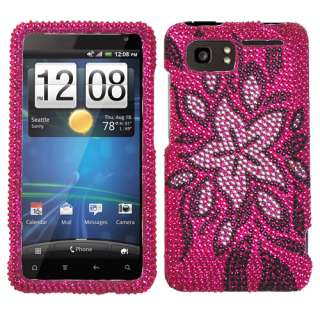 Protector Cover Tasteful Flowers Diamante Snap on Hard Case