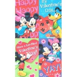 Disney Mickey and Minnie 32 Valentine Cards with Stickers
