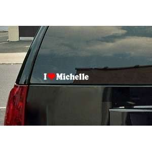 I Love Michelle Vinyl Decal   White with a red heart