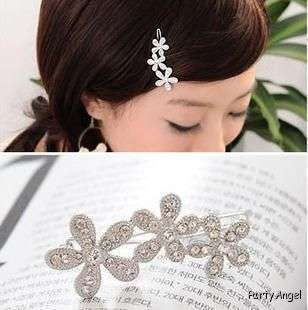 Party Bridal Flower white crystal Rhinestone Hair clip Barrette
