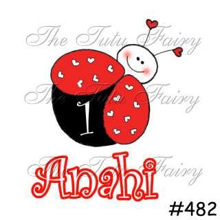 Ladybug lady bug name age birthday girl party shirt 1st 2nd first 3rd