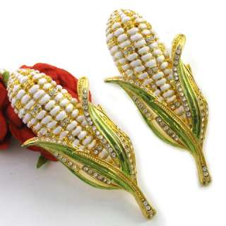 Yellow White Corn Maize Enamel Brooch Pin Light Clear Crystal Gold