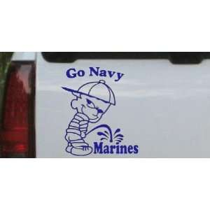 Go Navy Pee On Marines Car Window Wall Laptop Decal Sticker    Blue