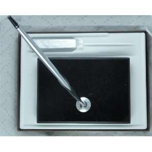 Cross Black Marble Single Desk Set with Polished Chrome
