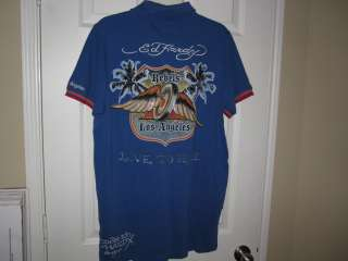 Ed Hardy Christian Audigier Rebels Los Angeles Born to Ride Polo L NWT