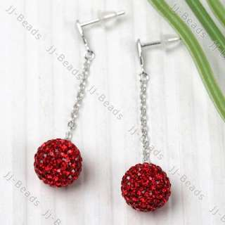 11 Color/Pair 925 Sterling Silver Czech Crystal Disco Ball Dangle