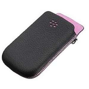 BlackBerry Torch Leather Pocket Case (Black w/Pink
