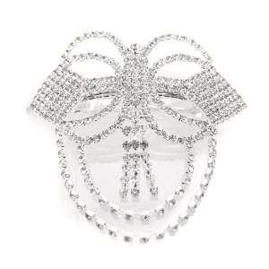 Bridal Silver Plated Genuine Austrian Crystal Cascading Wedding Hair