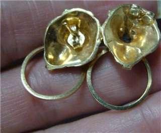 14k Gold Diamond Lion Head Door Knocker Earrings 8.2 Gr