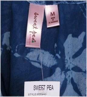 SWEET PEA Womens Mesh Cowl DRAPE NECK TANK TOP sz M NEW Tie Dye FLORAL