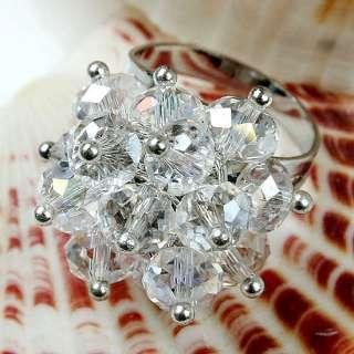 White Clear Faceted Crystal Glass Flower Adjustable Ring Sz 6