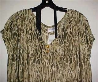 Green Animal Print Silky Sleepshirt Large New In Pack