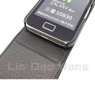 Black Leather Case Pouch + LCD Film For Samsung Galaxy Ace S5830