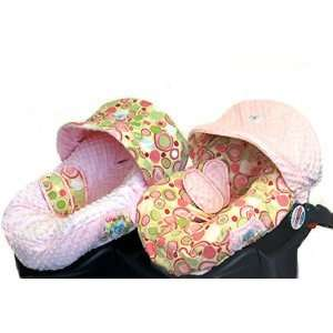 Reversible Minky Dot and Bubble Dot Pink Infant Seat Cover