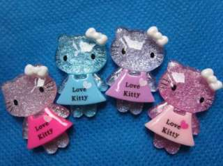 20 Resin Dressed Hello Kitty Button W/Bow 4 Colors K022