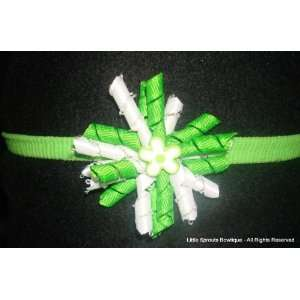 Mini Korker Headband   Lime Green and White with Matching