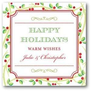 Personalized Holiday Gift Tag Stickers   Watercolor Holly