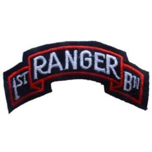 U.S. Army 1st Battalion Ranger Patch Black & White 3 5/8