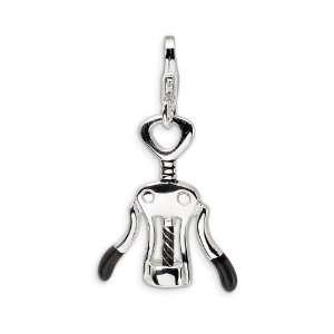 Sterling Silver Enameled Cork Screw Bottle Opener Charm Jewelry