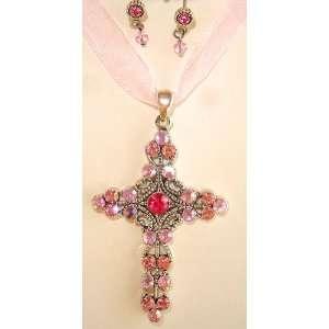 Pink Rhinestone Cross Necklace Earrings Set Jewelry