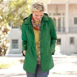 TravelSmith Womens Princess Seam Hooded Mac Green S