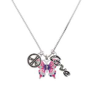 Large Hot Pink & Purple Butterfly, Peace, Love Charm Necklace [Jewelry