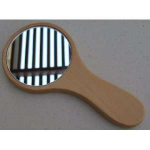 Small Wooden Handheld Mirror   6 inches x 3 inches