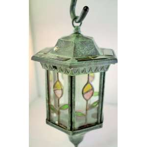 : Homebrite Metal Solar Lantern Stained Glass Garden Landscape Lights