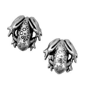 Sterling Silver Earrings Posts Studs Tiny Frog Frogs Toad Jewelry