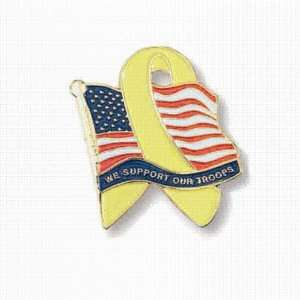 American Flag with Yellow Ribbon and We Support Our Troops Wording