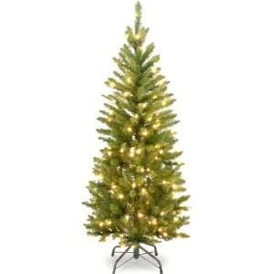 Fir Hinged Pencil Christmas Tree with Mini Lights