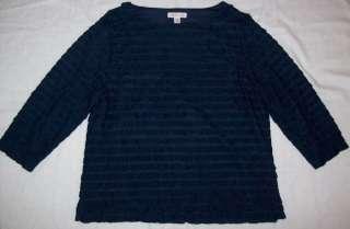 CREEK Womens Navy Ruffled Rumba Top Blouse Shirt Size XL 18
