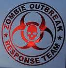 Zombie Outbreak Response Team Decal  12  Apocalypse hunter vehicle