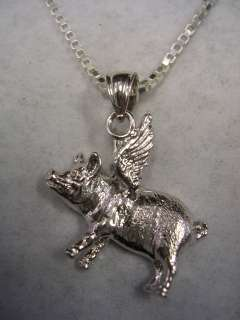 WHEN PIGS CAN FLY PIG PENDANT CHARM WITH CHAIN SILVER