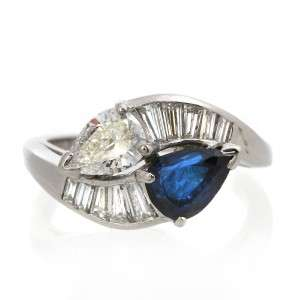 Estate Vintage Platinum Sapphire & Diamond Bypass Ring