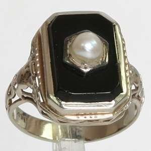 Antique 14K White Gold Pearl & Onyx Art Nouveau Estate Ring SZ 5.75