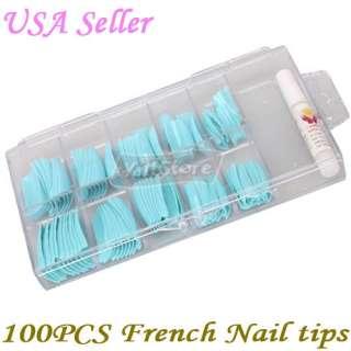 Acrylic French Half False Nail Art Tips Light Blue Box Package