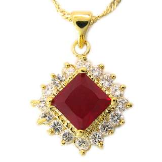 PRINCESS CUT RED GARNET YELLOW GOLD GP RUBY PENDANT