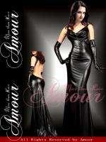 Sexy Blk Gothic Wetlook Long Dress Queen Clubwear
