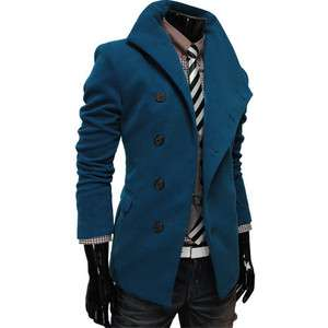 AJK) THELEES Mens NWT Casual Unbalance High neck Slim Coat Jacket BLUE