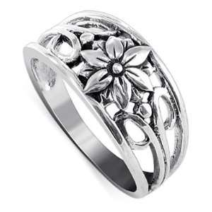 Sterling Silver 8mm Wide Filigree Floral Band Ring Size 8 Jewelry