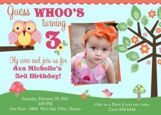 OWL 1ST BIRTHDAY BABY SHOWER INVITATIONS U PRINT