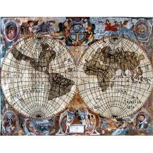 66x88 World Map Marble Stone Art Tile Wall Mural