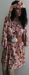 Vintage FLAPPER Roaring 20s Print DRESS & SCARF TIE O/S