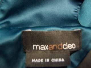 BCBG MAX AND CLEO Black/Teal Blue Stretch Satin V Neck Cocktail Dress