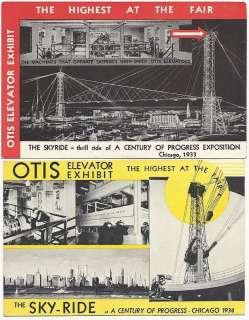 Postcards Otis Elevator Chicago Worlds Fair 1933 1934