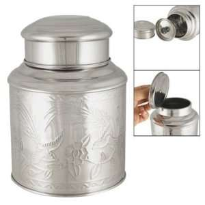 Amico Textured Floral Stainless Steel Tea Canisters Holder