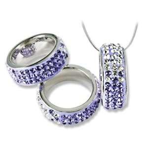 Ashley Arthur .925 Silver Tanzanite Crystal Ring Pendant w/Snake Chain