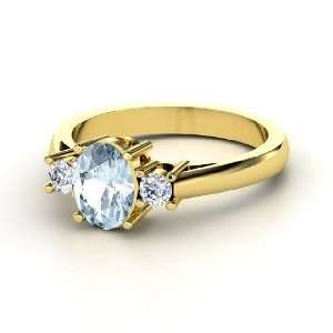 Ashley Ring, Oval Aquamarine 14K Yellow Gold Ring with