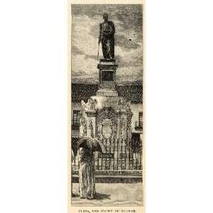 1888 Wood Engraving Statue Simon Bolivar Plaza Bogota Colombia